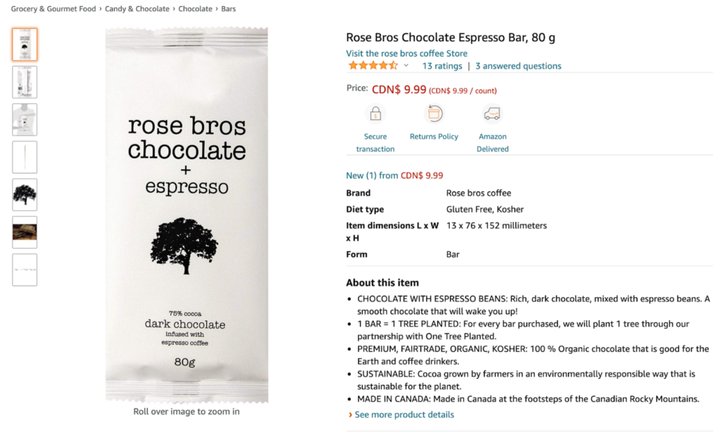 Rose bros chocolate bar